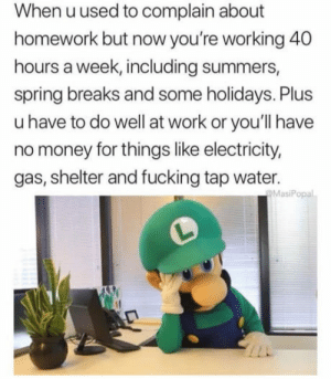 Fucking, Money, and Video Games: When uused to complain about  homework but now you're working 40  hours a week, including summers,  spring breaks and some holidays. Plus  u have to do well at work or you'll have  no money for things like electricity,  gas, shelter and fucking tap water.  MasiPopal Work for video games but have no time for video games.