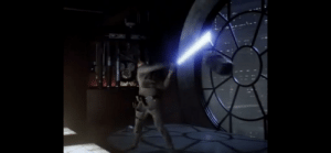 When Vader was force throwing objects at Luke and he kept missing them with his light sabre, hints at why he never made the Tatooine pro baseball league.: When Vader was force throwing objects at Luke and he kept missing them with his light sabre, hints at why he never made the Tatooine pro baseball league.