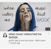 shook: when  videos  he  Music  had  SHOOK  4:23  when music videos had me  SHOOK  gold's fake & real love hurts 450K view:s  1 month ago