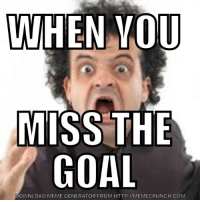 Lol, Meme, and Soccer: WHEN VOU  MISS THE  GOAL  DOWNLOAD MEME GENERATOR FROM HTTP://MEMECRUNCH.COM