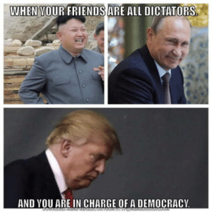 Some what true: WHEN VOUR FRIENDS ARE ALL DICTATORS  AND YOU ARE IN CHARGE OF A DEMOCRACY Some what true