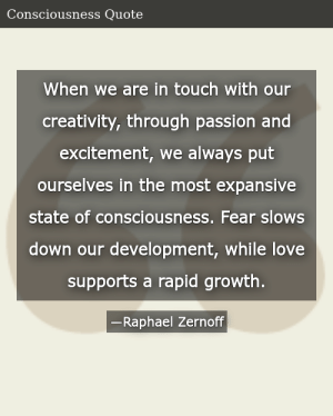 SIZZLE: When we are in touch with our creativity, through passion and excitement, we always put ourselves in the most expansive state of consciousness. Fear slows down our development, while love supports a rapid growth.