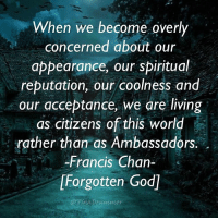 God, Memes, and World: When we become overly  concerned about our  appearance, our spiritual  reputation, our coolness and  our acceptance, we are living  as citizens of this world  rather than as Ambassadors.  Francis Chan  [Forgotten God] FrancisChan