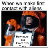 Memes, Aliens, and 🤖: When we make first  contact with aliens  How much  ls a  Gram over  There