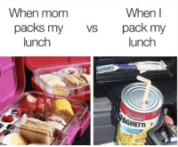 lunch: When  When mom  packs my  lunch  VSpack my  lunch  AGHETTI