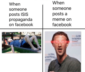 Zucc by Zombrex9117 FOLLOW 4 MORE MEMES.: When  When  someone  someone  posts a  posts ISIS  propaganda  on facebook  meme on  facebook  ENTREPREN  MMIT  ENE  M Zucc by Zombrex9117 FOLLOW 4 MORE MEMES.