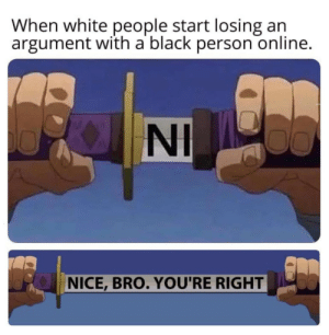 Be nice to everyone it's good for all :) via /r/wholesomememes http://bit.ly/2ZkqCyS: When white people start losing an  argument with a black person online.  NI  NICE,BRO. YOU'RE RIGHT Be nice to everyone it's good for all :) via /r/wholesomememes http://bit.ly/2ZkqCyS