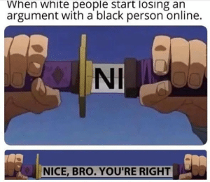 meirl: When white people start losing an  argument with a black person online.  NI  NICE,BRO. YOU'RE RIGHT meirl