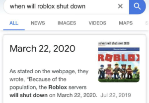 When Will Roblox Shut Down Images Maps All News Videos Servers