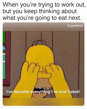When you're trying to work out, but you keep thinking about what you're going to eat next.  Gymaholic App: https://www.gymaholic.co  #fitness #motivation #workout #meme #gymaholic: When you're trying to work out, but you keep thinking about what you're going to eat next.  Gymaholic App: https://www.gymaholic.co  #fitness #motivation #workout #meme #gymaholic