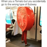 Credit: @themaklion: When you a Tomato but you accidentally  go to the wrong type of Subway  Othemaklio Credit: @themaklion