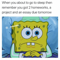 Gotta project due tomorrow I ain't even start on, procrastination gang🔥💯: When you about to goto sleep then  remember you got 2 homeworks, a  project and an essay due tomorrow  extendo Gotta project due tomorrow I ain't even start on, procrastination gang🔥💯