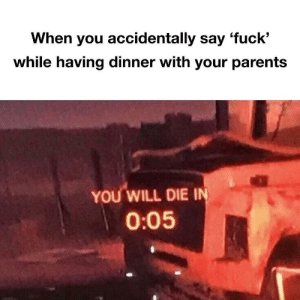 Parents, Ally, and Fuck: When you accidentally say 'fuck'  while having dinner with your parents  YOU WILL DIE I  0:05 an ally has been slain