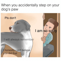 Doggo: I just think it's funny how.... ( follow @badtastebb ): When you accidentally step on your  dog's paw  Pls don't  I am so sorry  will always remember  honest  can't believe  you did that Doggo: I just think it's funny how.... ( follow @badtastebb )