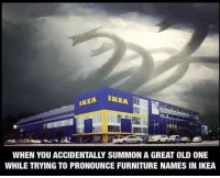 Ikea, Furniture, and Old: WHEN YOU ACCIDENTALLY SUMMON A GREAT OLD ONE  WHILE TRYING TO PRONOUNCE FURNITURE NAMES IN IKEA GRÖNKULLA FYRKANTIG RIKTIG ÖGLA