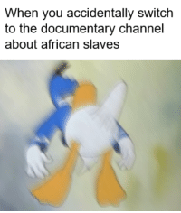 The Documentary, Switch, and Slaves: When you accidentally switch  to the documentary channel  about african slaves <p>nut nut nut</p>