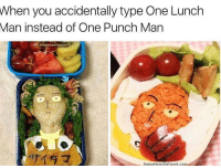 Anime, Memes, and Naruto: When you accidentally type One Lunch  Man instead of One Punch Man  Animeswarm.com  AnimeNews Network.com Morning, guys. I'm really tired and I wish I could just stay home today, but of course I don't get to do that. I'm so ready for this weekend to be over with since it's been awful so far ✩ anime manga otaku tumblr kawaii animegirl eren naruto fairytail tokyoghoul attackontitan animeboy onepiece bleach swordartonline aot blackbutler deathnote yurionice shingekinokyojin killingstalking animeworld snk animeart narutoshippuden sao yaoi kaneki animedrawing animelove