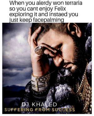 DJ Khaled, Sad, and Khaled: When you alerdy won terraria  so you cant enjoy Felix  exploring it and instaed you  just keep facepalming  DJ KHALED  SUFFERING FROM SUCCESS *SAD NOISES*