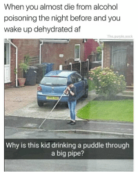 He's recovering 🙏😂 https://t.co/XzWarNB2bd: When you almost die from alcohol  poisoning the night before and you  wake up dehydrated af  The.purple.sock  Why is this kid drinking a puddle through  a big pipe? He's recovering 🙏😂 https://t.co/XzWarNB2bd