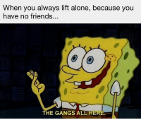 Being Alone, Friends, and Gym: When you always lift alone, because you  have no friends...  THE GANGS ALL HERE Just me and my gains.