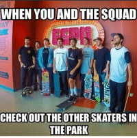 Squad, Skate, and Check: WHEN YOU AND THE SQUAD  CHECK OUT THE OTHER SKATERS IN  THE PARK Tag your squad 😂💯 skatermemes