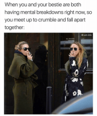 Fall, Funny, and Link: When you and your bestie are both  having mental breakdowns right now, so  you meet up to crumble and fall apart  together:  @i.am.link  ALL DELIVER  LOCATED Too legit @i.am.link 😩😂