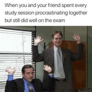 Love it when this happens 🙌😂: When you and your friend spent every  study session procrastinating together  but still did well on the exam Love it when this happens 🙌😂
