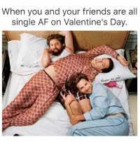 There's 3 types of single people here- Bradley Cooper's all like who needs a valentine when I have my besties I love u guys lets watch chick flicks, Zach Galifianakis is like im still hot I still got it and is low key sexting someone and will probs try to booty call them later on and then Ed Helms is just like fuck my life I hate Valentine's day I just ate 3 pints of Ben & Jerrys fuck everyone. Which one are u? (@humor_me_pink): When you and your friends are all  single AF on Valentine's Day.  me There's 3 types of single people here- Bradley Cooper's all like who needs a valentine when I have my besties I love u guys lets watch chick flicks, Zach Galifianakis is like im still hot I still got it and is low key sexting someone and will probs try to booty call them later on and then Ed Helms is just like fuck my life I hate Valentine's day I just ate 3 pints of Ben & Jerrys fuck everyone. Which one are u? (@humor_me_pink)