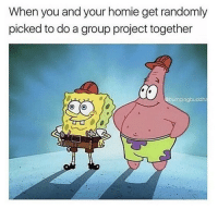 Homie, Project, and Group: When you and your homie get randomly  picked to do a group project together  @bumpingbuddha This was the greatest feeling.. 😂💯 https://t.co/Cjk9rPsehD