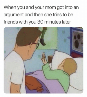 Friends, True, and Mom: When you and your mom got into an  argument and then she tries to be  friends with you 30 minutes later Too true!