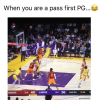 Smh😂 (Via ‪BULLETlN‬-Twitter): When you are a pass first PG  ie  PACERS  138 40 LAKERS  19 56 2nd Qtr 2:44 o  @nbamemes Smh😂 (Via ‪BULLETlN‬-Twitter)