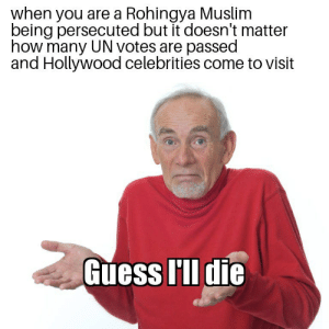 Doesn't matter how many times Ashley Judd hugs you if the world doesn't do anything by OldManoftheNorth FOLLOW 4 MORE MEMES.: when you are a Rohingya Muslim  being persecuted but it doesn't matter  how many UN votes are passed  and Hollywood celebrities come to visit  Guess I'll die Doesn't matter how many times Ashley Judd hugs you if the world doesn't do anything by OldManoftheNorth FOLLOW 4 MORE MEMES.