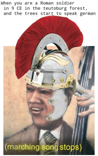 Battle of the Teutoburg Forest (9 CE): When you are a Roman soldier  in 9 CE in the teutoburg forest,  and the trees start to speak german  marching song stops) Battle of the Teutoburg Forest (9 CE)