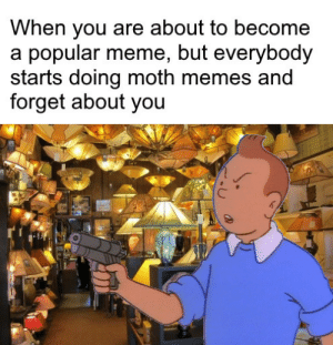 I liked them better to be honest: When you are about to become  a popular meme, but everybody  starts doing moth memes and  forget about you I liked them better to be honest