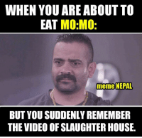 Relates !!  #pic_from > Jatra   release date : Kartik 19: WHEN YOU ARE ABOUT TO  EAT  MO MO:  meme NEPAL  BUT YOU SUDDENLY REMEMBER  THE VIDEO OF SLAUGHTER HOUSE. Relates !!  #pic_from > Jatra   release date : Kartik 19