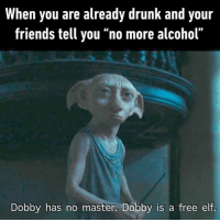 dobby is a free elf: When you are already drunk and your  friends tell you no more alcohol  Dobby has no master, Dobby is a free elf.