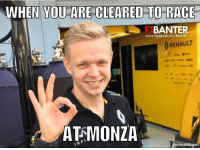 ICYMI: Kevin Magnussen has been cleared to race the Italian Grand Prix!  #ChamF1B: WHEN YOU ARE CLEARED TO RACE  BANTER  www.facebook.com/BanterF 1  RENAULT  ATRMONZA  Amematicnet ICYMI: Kevin Magnussen has been cleared to race the Italian Grand Prix!  #ChamF1B
