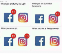 Dumb, Funny, and Ugly: When you are funny but ugly  When you are dumb but  handsome  13  When you are a girl  When you are a Programmer  13  13 This is what it like be me