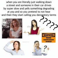Memes, Time, and 🤖: when you are literally just walking down  a street and someone in their car drives  by super slow and yells something degrading  at you and so you pretend to not hear  and then they start calling you derogatory terms  2  WARNING  MASS  CONFUSION  AHEAD  www.shuttersteckcom 569700874  @poppinangst I got honked at for the first time the other day I was shook