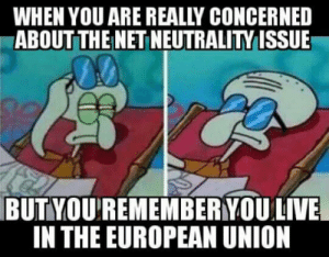 We stand together with our American brothers and sisters!: WHEN YOU ARE REALLY CONCERNED  ABOUT THEI NET NEUTRALITY ISSUE  BUTYOU'REMEMBERYOU  LIVE  IN THE EUROPEAN UNION We stand together with our American brothers and sisters!