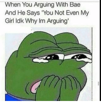 "Arguing, Bae, and Funny: When You  Arguing With Bae  And He Says ""You  id ven My  Not E  Girl ldk Why  lm Arguing' 😂😂😂"