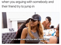Youre A Bitch: when you arguing with somebody and  their friend try to jump in  BOC Re  You're a bitch and you're a bitch. Now what?  GIF