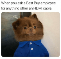 Snapchat: DankMemesGang: When you ask a Best Buy employee  for anything other an HDMI cable. Snapchat: DankMemesGang