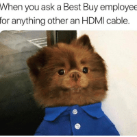 😂😂: When  you ask a Best Buy employee  for anything other an HDMI cable. 😂😂