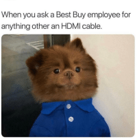 The most accurate representation: When you ask a Best Buy employee for  anything other an HDMI cable. The most accurate representation