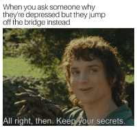 You'll never figure out what the secret was: When you ask someone why  they're depressed but they jump  off the bridge instead  All right, then. Keep your secrets You'll never figure out what the secret was