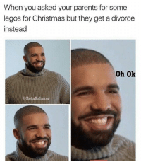 Drake, Lego, and Memes: When you asked your parents for some  legos for Christmas but they get a divorce  instead  Oh Ok  @Betasalmon I don't think divorce is funny but Drake's reaction is
