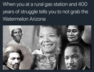 Malcolm would have bought it.: When you at a rural gas station and 400  years of struggle tells vou to not arab the  Watermelon Arizona Malcolm would have bought it.