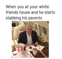 Friends, Parents, and House: When you at your white  friends house and he starts  stabbing his parents https://t.co/g5XaxRazlO