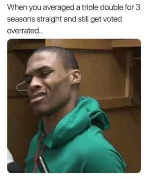 Be Like, Nba, and Russell Westbrook: When you averaged a triple double for 3  seasons straight and still get voted  overrated Russell Westbrook be like...